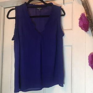 V Neck Sleeve Blue Blouse with a  frill trim .